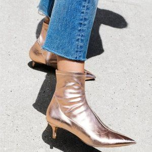 NEW Free People Marilyn Kitten Heel Boot Rose Gold